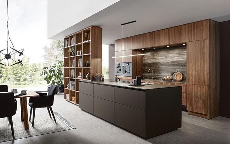 next125 Küche NX870 | NX620 Fenix mokkabraun feinmatt AFP / Nussbaum natur